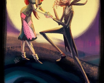 """JACK AND SALLY Sugar Skulls from Disney's """"Nightmare Before Christmas"""" Premium Print with Embellishments"""