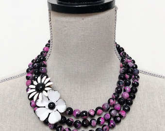 Black and pink beaded agate necklace with repurposed vintage flower brooches