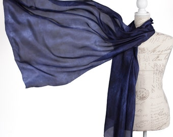 Navy blue evening silk wrap /  midnight blue scarf for women /  large dark blue silk veil / chic silk scarf