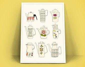 Retro Vintage Poster A4 Art Print - Koffiekannen - koffiepotten - theekannen