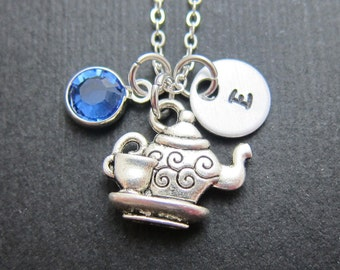 Teapot Necklace - Handstamped initial, Persinalized name, Customized Swarovski crystal birthstone
