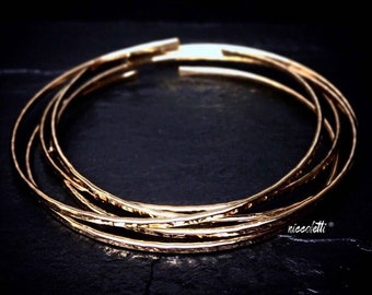 14k Gold Filled Bangles Set / Mothers Day Gift / Hammered Silver or Gold Stacking Bangles / Rose Gold Textured Bangle Bracelets