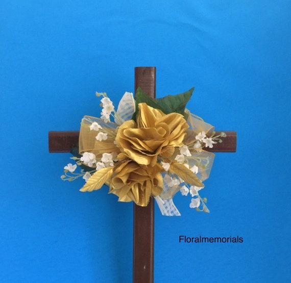 Cemetery flowers , SALE Cemetery Cross, Grave flowers, cemetery arrangement, Grave Marker, Memorial Cross,