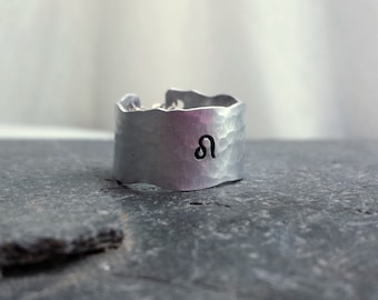 Silver Zodiac Ring, Sexy Organic textured Wide Band Ring, Personalized Gift