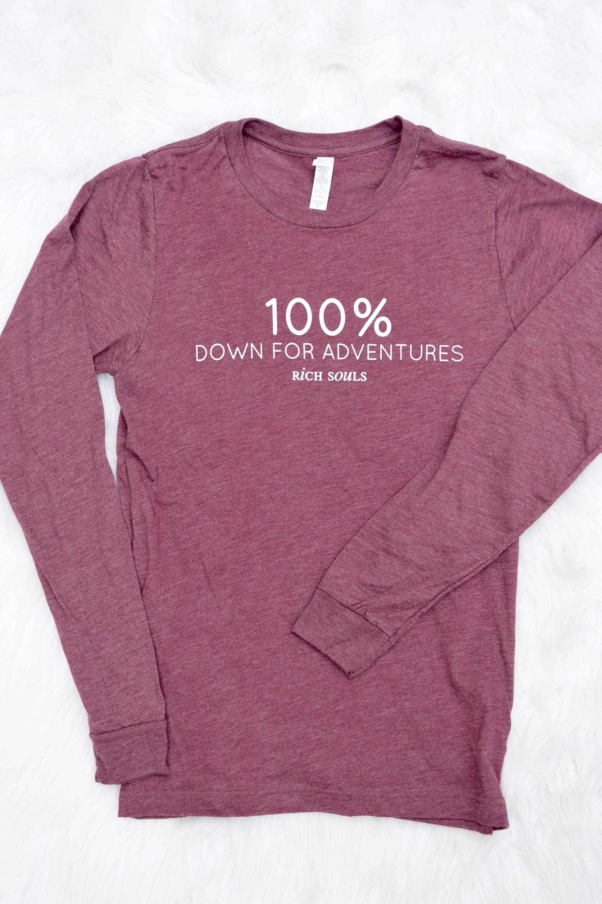 100% Down For Adventures// Adult Unisex Long Sleeve // Marron Charcoal Triblend // Comfy Tee pYRen5QoFf