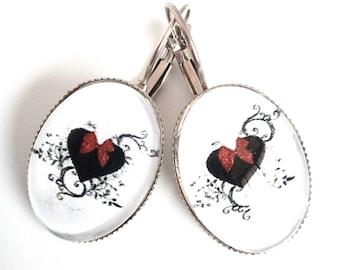 Cabochon 18 * 25 mm glass heart earrings