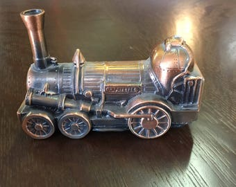 1974 Banthrico Copper Toned Train Coin Bank