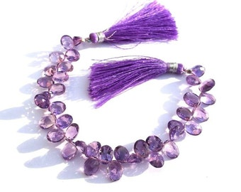 1/2 Strand - High Quality Amethyst Faceted Oval shaped cut stone briolettes Size 9x7mm approx