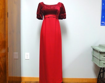 Vintage 60s Deep Cranberry Red Formal Dress for Prom or Wedding Sheath Dress Size Petite