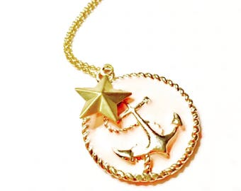 Vintage style anchor medallion- Nautical necklace- Minimalist anchor necklace- Nautical Medallion- unique gift for her- valentine's gift