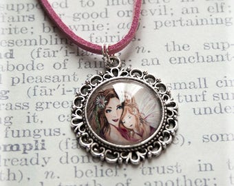 Mom Pendant, Silver Necklace, Silver Jewelry, Silver Pendant, Pink Necklace, Mom Necklace, Fairy Jewelry Gift, Handmade Pendant, Mother Gift