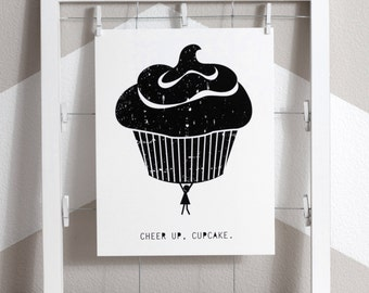 Cupcake Art Print, Dessert Art Print, Food Art Print, Black and White Cupcake Art Print, Cupcake Display, Cupcake Wall Art, Eco Friendly Art