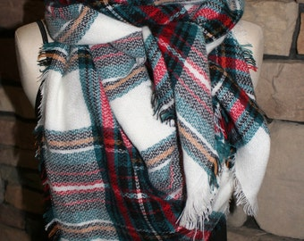 Plaid Tartan Blanket Scarf White Teal Red Plaid Scarf Christams Scarves Zara Style Plaid Blogger Favorite-Womens Accessories