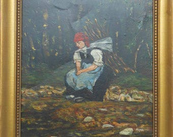 vintage 19th century oil on tin painting of woman caring wood signed dated 1874