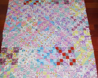 Vintage Feedsack Quilt Top Square & Triangle Patchwork Twin 1940s