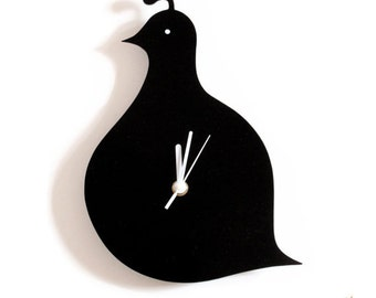 Black Quail Wall Hanging Clock