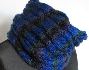 Infinity Scarf Cowl Wrap Dark Blue Green Hand knit Acrylic Wool Mohair