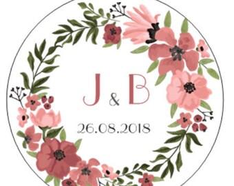 Sticker customized for wedding (set of 24-48-72-96-120-240)