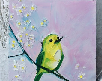 Yellow canary on branch with white blossoms original oil painting, small oil painting, ready to hang art, cradled panel, yellow bird art