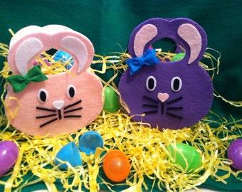 Felt Rabbit Easter Basket, Egg Hunt, Children Easter ~Customizable colors~