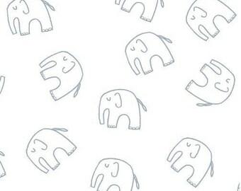 Cotton fabric kids babies American - Windham Fabric designer Lotta Jansdotter - blue Elephants on white - by
