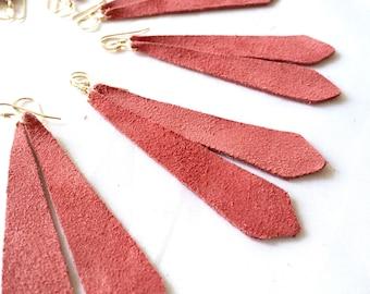 Dusty Rose Suede Leather Earrings