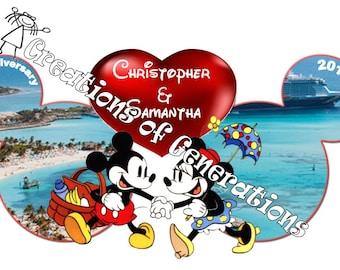 Disney Cruise Door Decoration Magnet - Mickey & Minnie Anniversary Celebration Castaway Cay