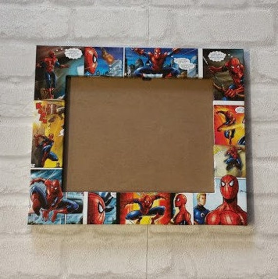 Spiderman Frame. Super Hero Comic Book Decoupage Picture Frame 6\
