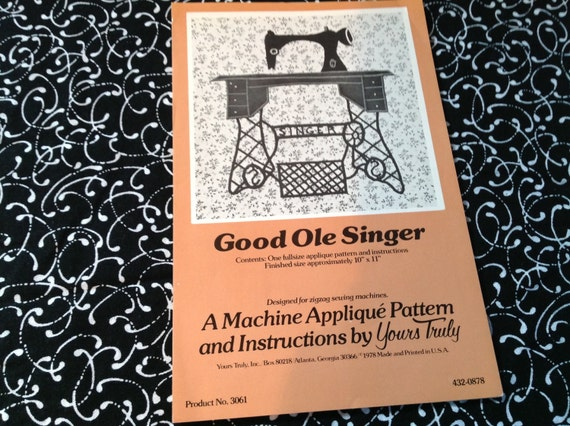 Applique Pattern, Good Ole Singer, sewing machine applique pattern ...