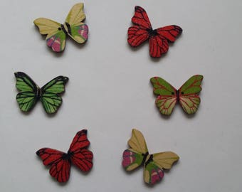 6 multicolored painted wooden Butterfly buttons
