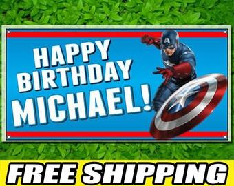 Captain America Personalized Printed Custom Name Vinyl Banner Happy Birthday Banner