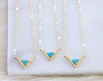 Mother's Day Gift, Turquoise Triangle Necklace