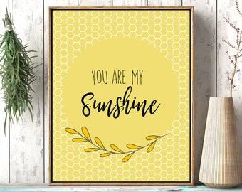 You are my sunshine, yellow print, girl nursery print, boy nursery print, Quote nursery, Nursery Rhyme Song, Sunshine Printable, Nursery Art