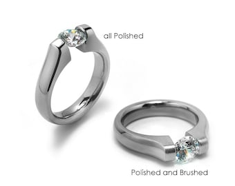 1ct and 1.5ct and 2ct Moissanite Engagement Ring Tension Set in Stainless Steel