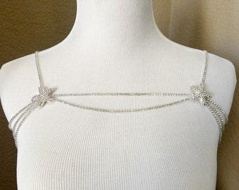 Bridal Starfish Rhinestone Necklace Crystal Shoulder Necklace Wedding Jewelry Bridal Jewelry Wedding Dress Accessory SN002LX