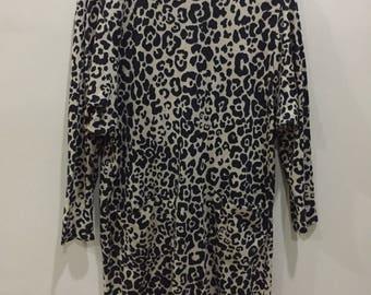 Jahrgang RACINE Jersey Frauen Kleider Leopard Print Made In France