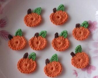 9 Mini Crochet  Pumpkins In Orange, Green, Brown YH - 042