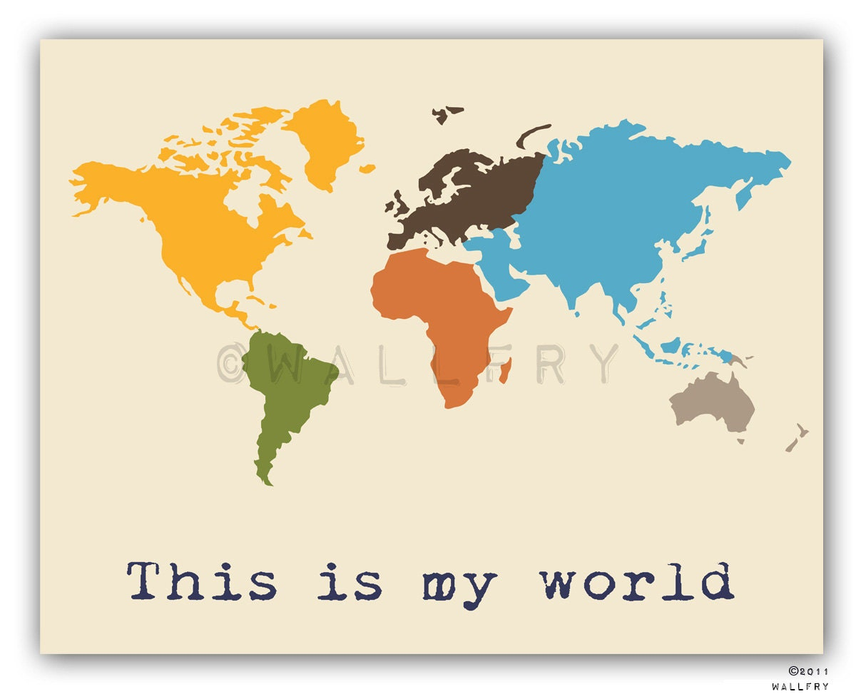 Kids wall art world map print childrens wall art kid zoom gumiabroncs Image collections