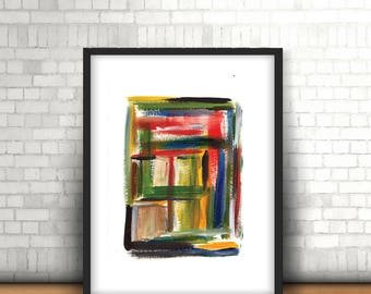 "Multicolor abstract painting, Office abstract art, Yellow green abstract art, Modern colorful painting, New job gift,""Square up the colours"""