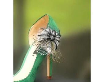 Sale Shoe Clips Spider & Web. Edgy Steampunk Bride Bridal Bridesmaid, Stylish Statement Theme Wedding, Teen Women Fun, Silver Black White