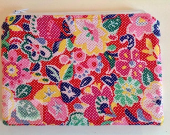 """8"""" Make Up Bag  - Red Multicoloured Flower     -  Gift for Her, Gift for Wife, Gift for Women , Gift for Mum"""