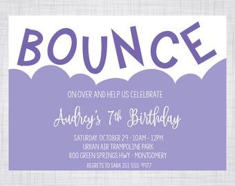 Trampoline Birthday Invitation. Bounce House Birthday Invitation. Indoor Bounce House Invitation.