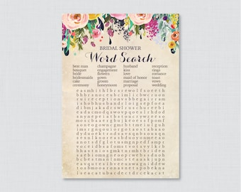 Floral Bridal Shower Word Search - Printable Colorful Flower Bridal Shower Game - Shabby Chic Garden Bridal Shower Word Search Game 0002-A