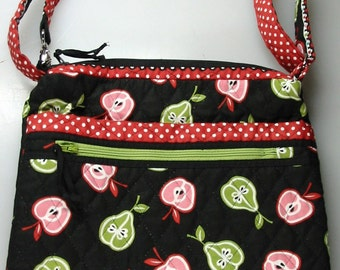 Quilted Purse with adjustable strap/crossbody bag/apple,pear fabric/black red green handbag/shoulder bag/fruit motif/versital & functional