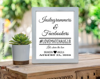 Wedding Hashtag Sign Personalized Wedding Signage For Your DIY Wedding Reception Share The Love Instagram / Facebook Sign SKU# CWS304_2822C