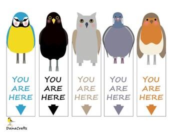 Cute Printable Bookmarks - Bird Bookmarks - Garden Birds - PDF Download - Instant Download - Digital Download - Kids Bookmarks