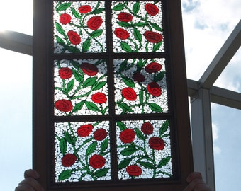 """Stained Glass Mosaic Window Wood Cabinet Door Repurpose """"Painting the Roses Red"""""""