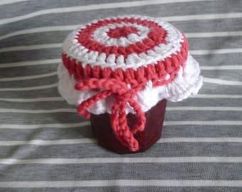 Warmer hand crocheted jar lid covers jam jar, charlotte jam jar, hook
