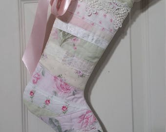 SALE* SMALLER Shabby Cottage Christmas Stocking Pink &Sage Patchwork Vintage Lace Baby Girl