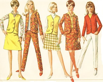 1960s Womens Jacket or Sleeveless Jacket, A Line Skirt and Cigarette Pants Simplicity Sewing Pattern 7089 Size 12 Bust 32 UnCut